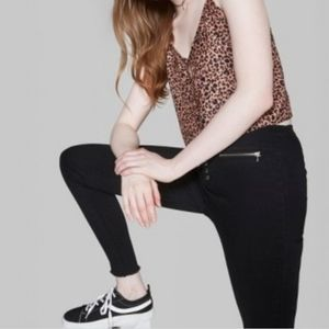 WILD FABLE Animal Print Button Down Cropped Cami
